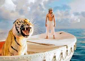 Pi and Richard Parker, a tiger, on a boat at sea.
