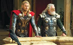 Thor and Odin look out over  their kingdom of Asgard.