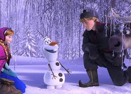 Anna and Kristoff meet Olaf the snowman.