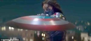 Captain America's frenemy the Winter Soldier stares down Cap and snatches his shield